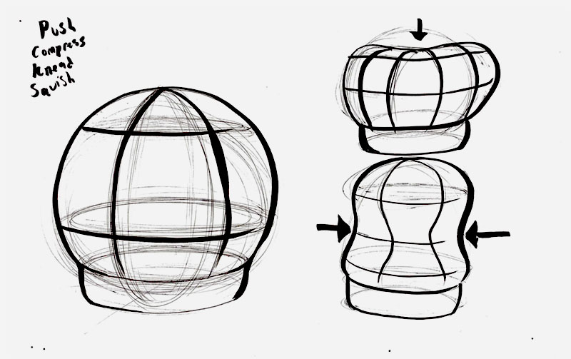 Sketch of a large sphere like a crytal ball which is squished and manipulated to create sound