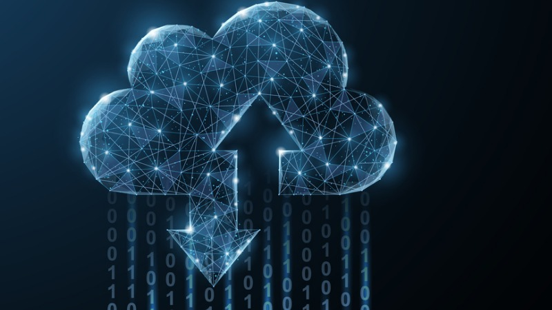 Eine aus leuchtenden, miteinander verknüpften Punkten geformte Wolke, die für die Fähigkeit zum Up- und Download steht und aus der es Datenströme von Einsen und Nullen regnet.