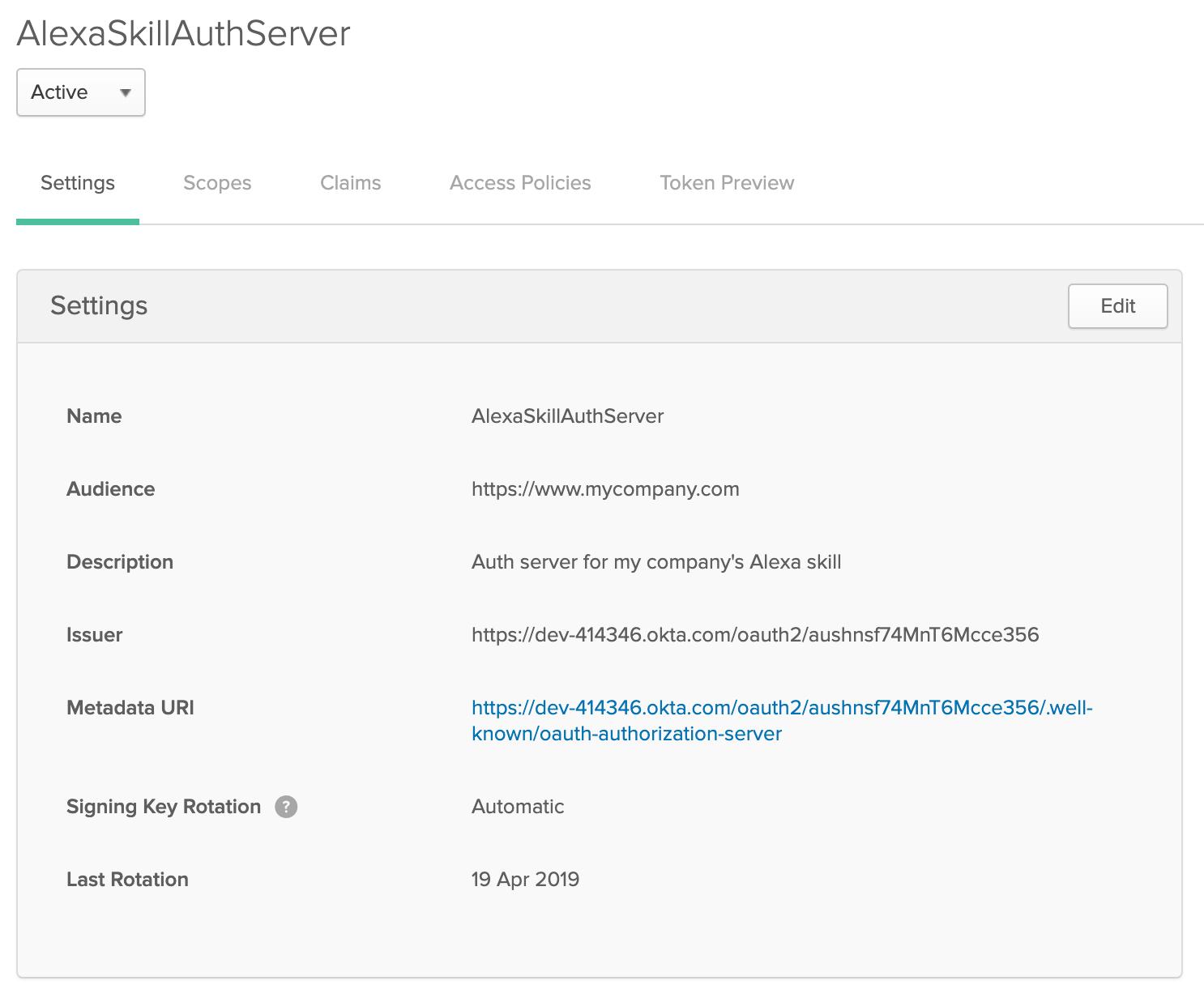Alexa .NET Auth Server in Okta