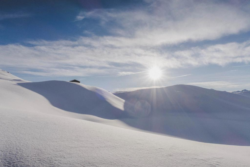 Sun shining brightly on a landscape of snow.