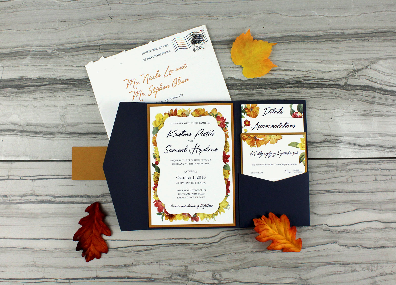 Kristina and Samuel's wedding invitations