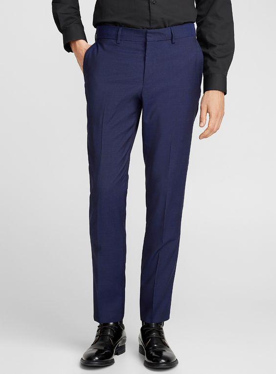 Pantalon de costume homme bleu marine bien ajusté