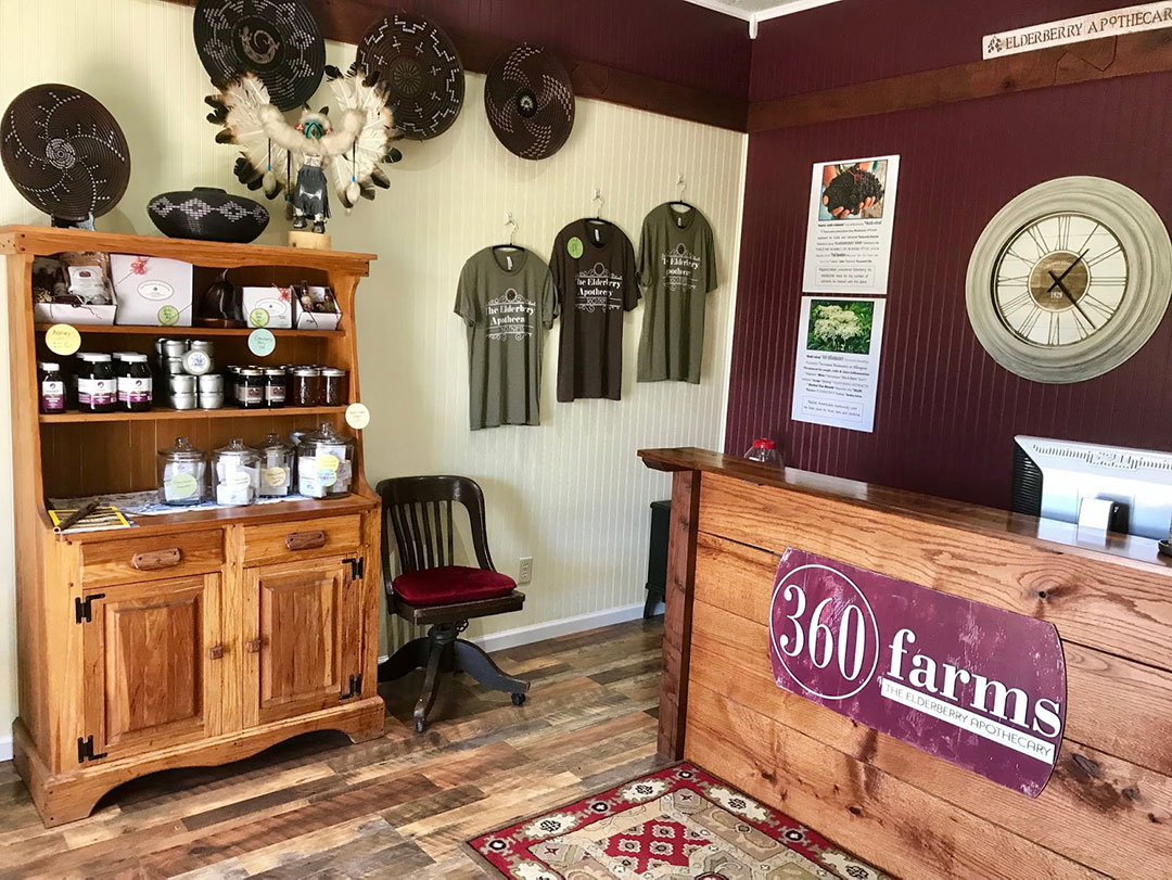 The 360 Farms office, featuring a steel sign to welcome visitors