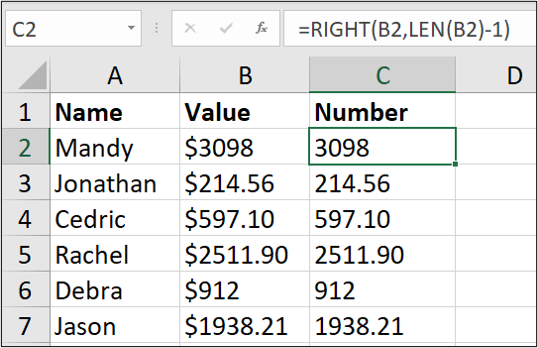 """An Excel spreadsheet containing three columns of data: name, value, number. The first cell in the """"number"""" column has been highlighted and a formula entered into the formula bar."""
