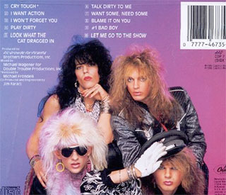 The back cover to Poison's debut album: Look What The Cat Dragged In