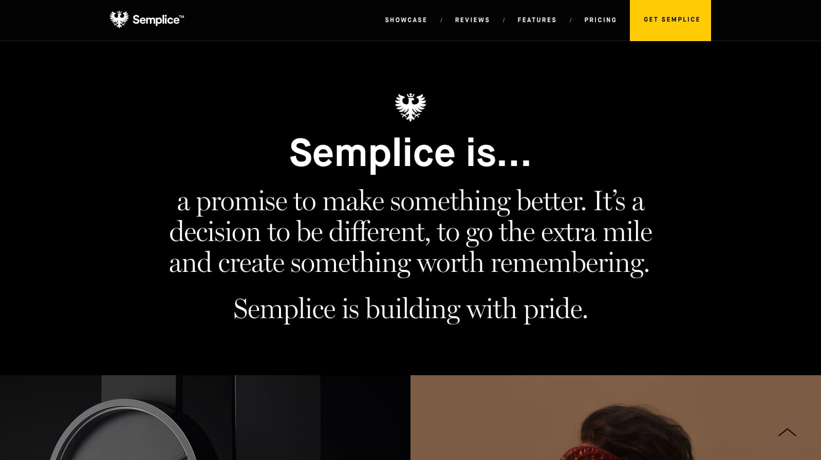 User interface of Semplic with aspirational wording