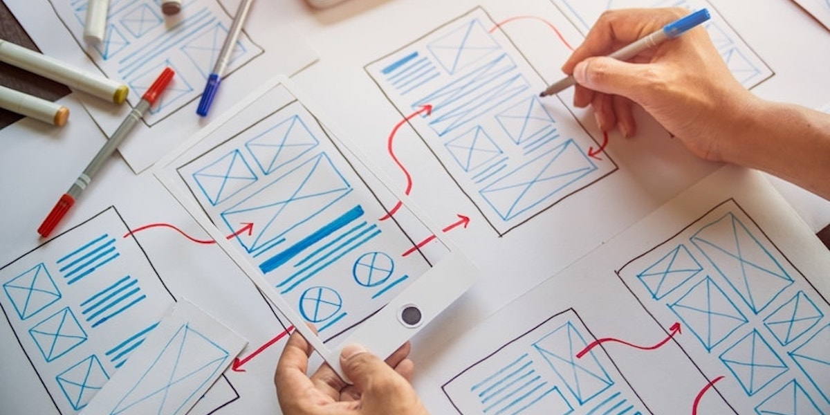 UX designer making wireframes