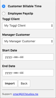 Screenshot of Toggl To Manager.io extension. Form that asks you to associate a Toggl Client to Manager Customer and the start date and end date of the report you want to generate.