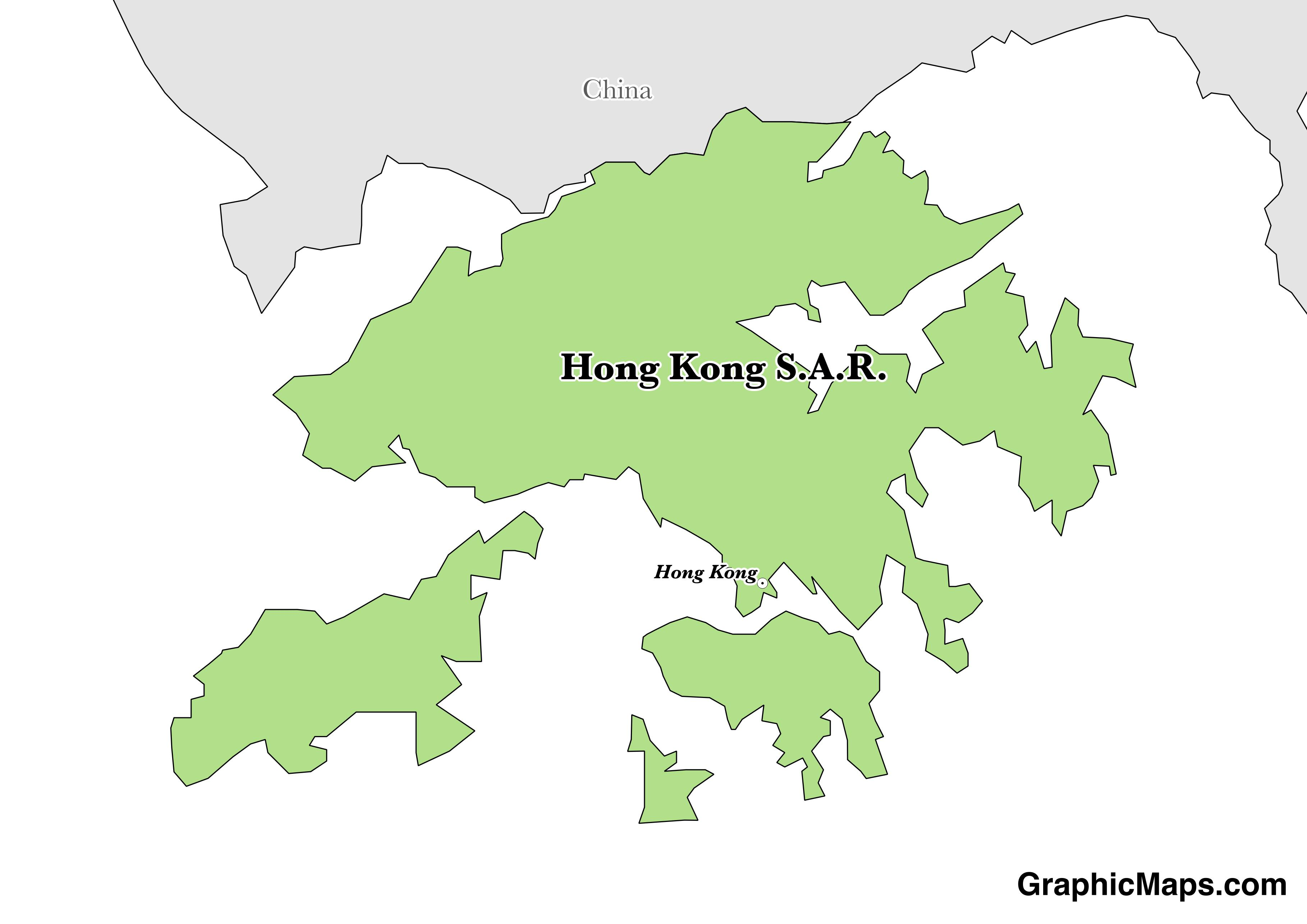 Map showing the location of Hong Kong