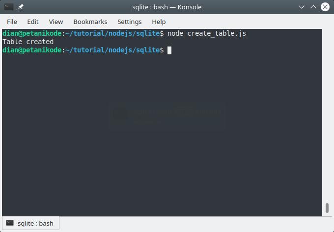 Create SQLite tables