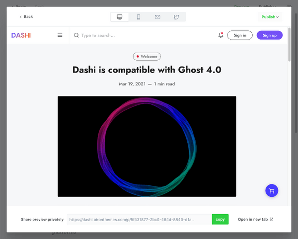 Ghost 4.0 post preview