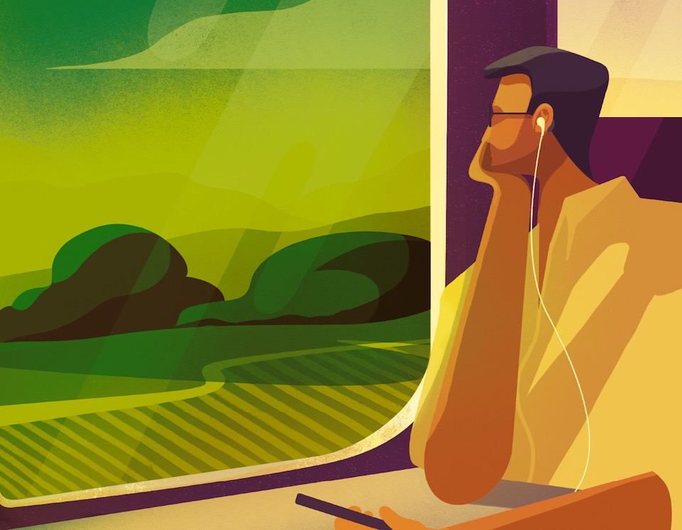 Illustration of a man on a train with headphones on.