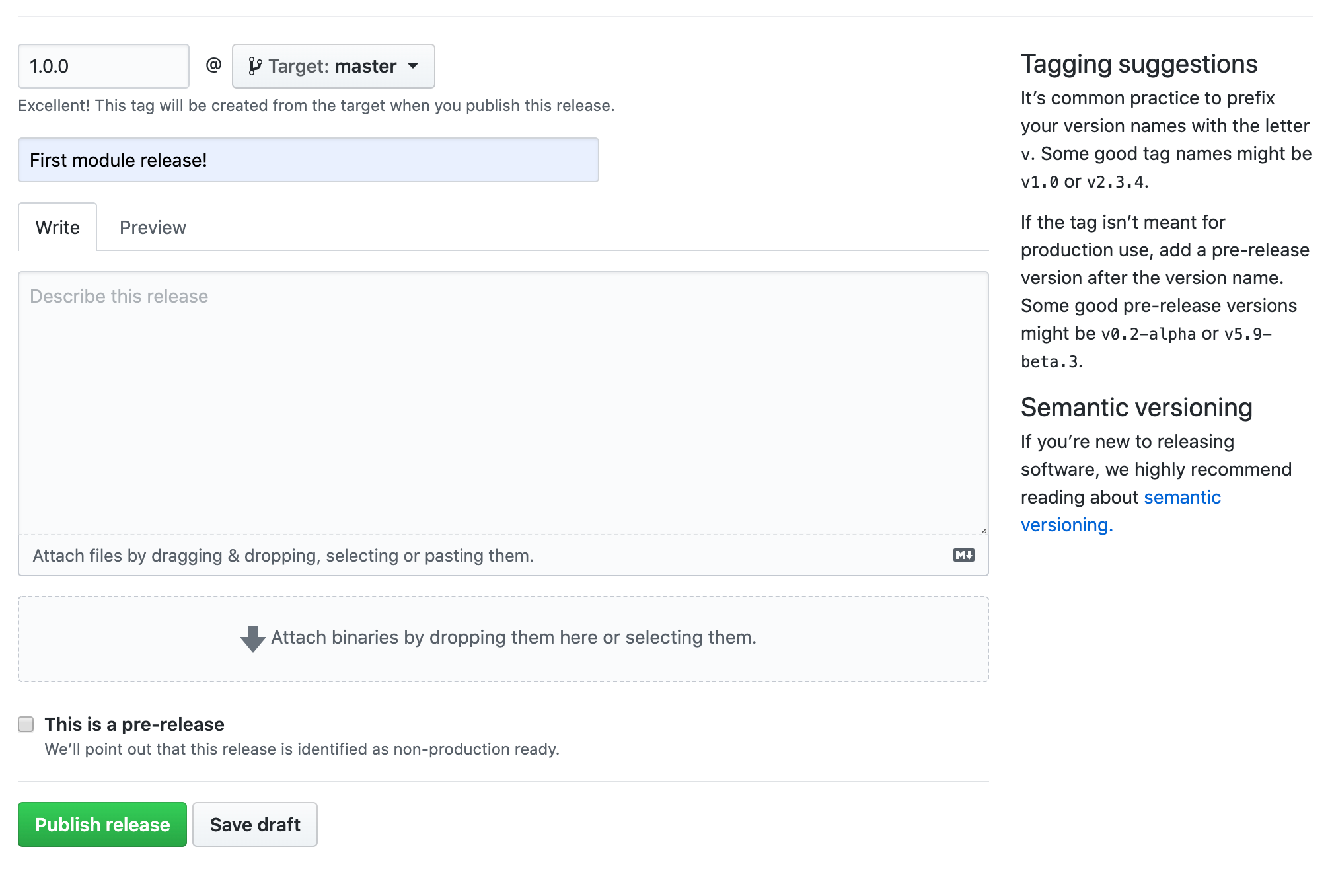 GitHub releases versioning and publishing mechanism