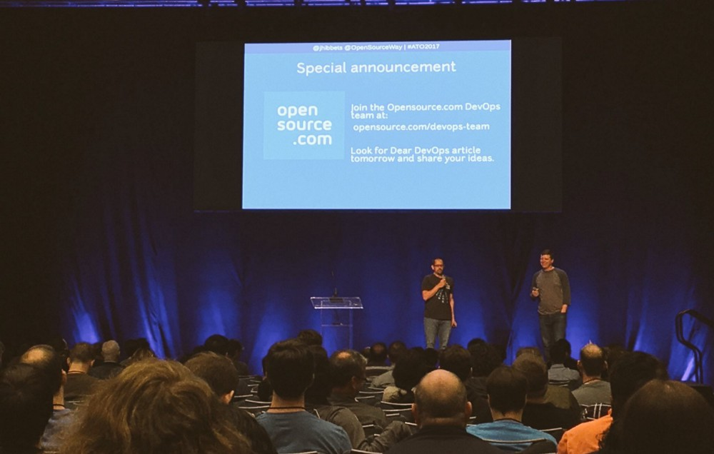 Jason Hibbets and Chris Short announcing the Opensource.com DevOps Team at All Things Open 2017