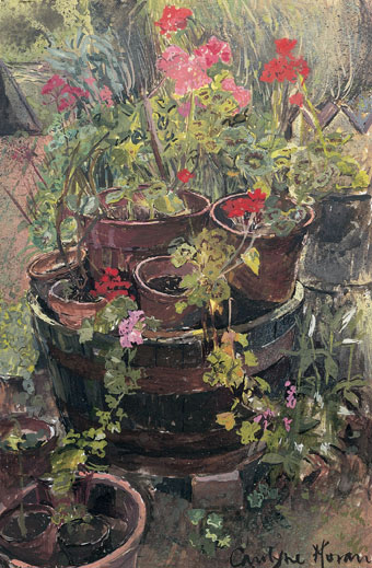 The Tub of Potted Geraniums gouache painting