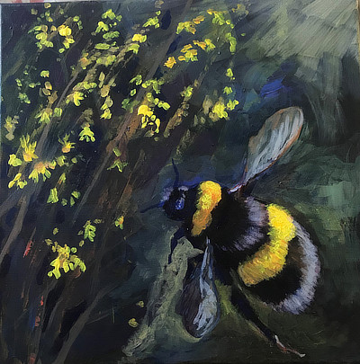 closeup painting of a bee
