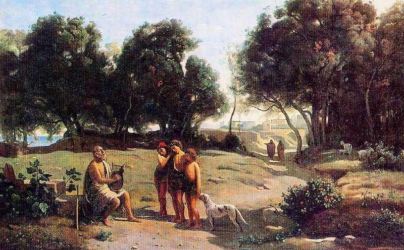 Homer and the Shepherds in a Landscape, by Camille Corot 1845, Musée des Beaux-Arts de Saint-Lô,