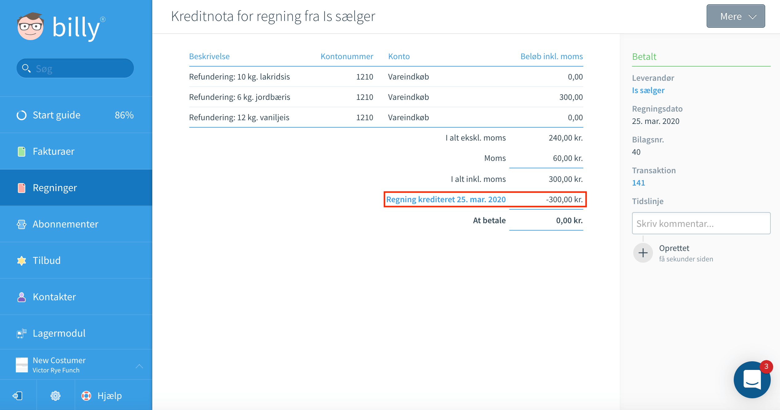 Krediter 1 af flere produkter