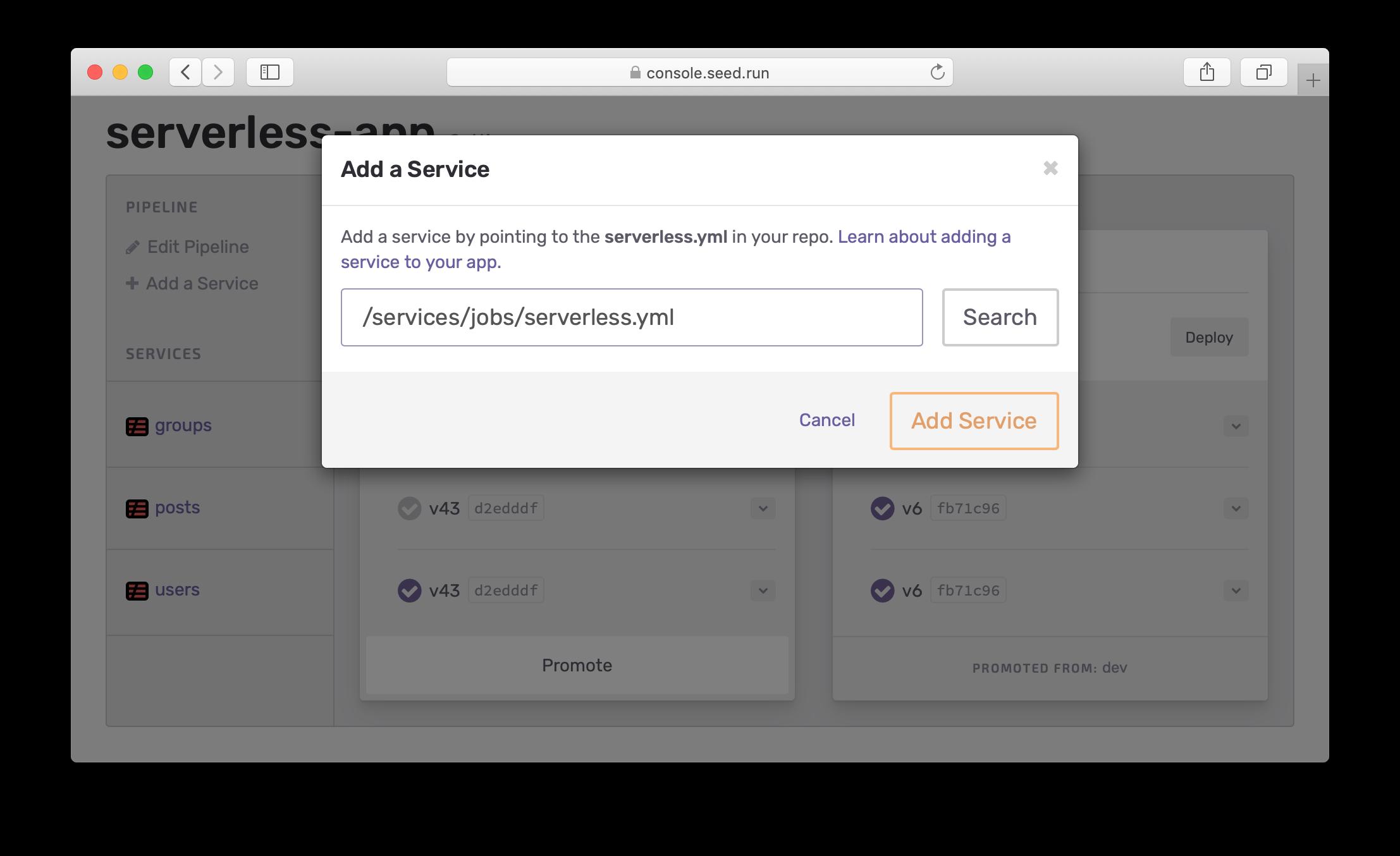 Add service modal