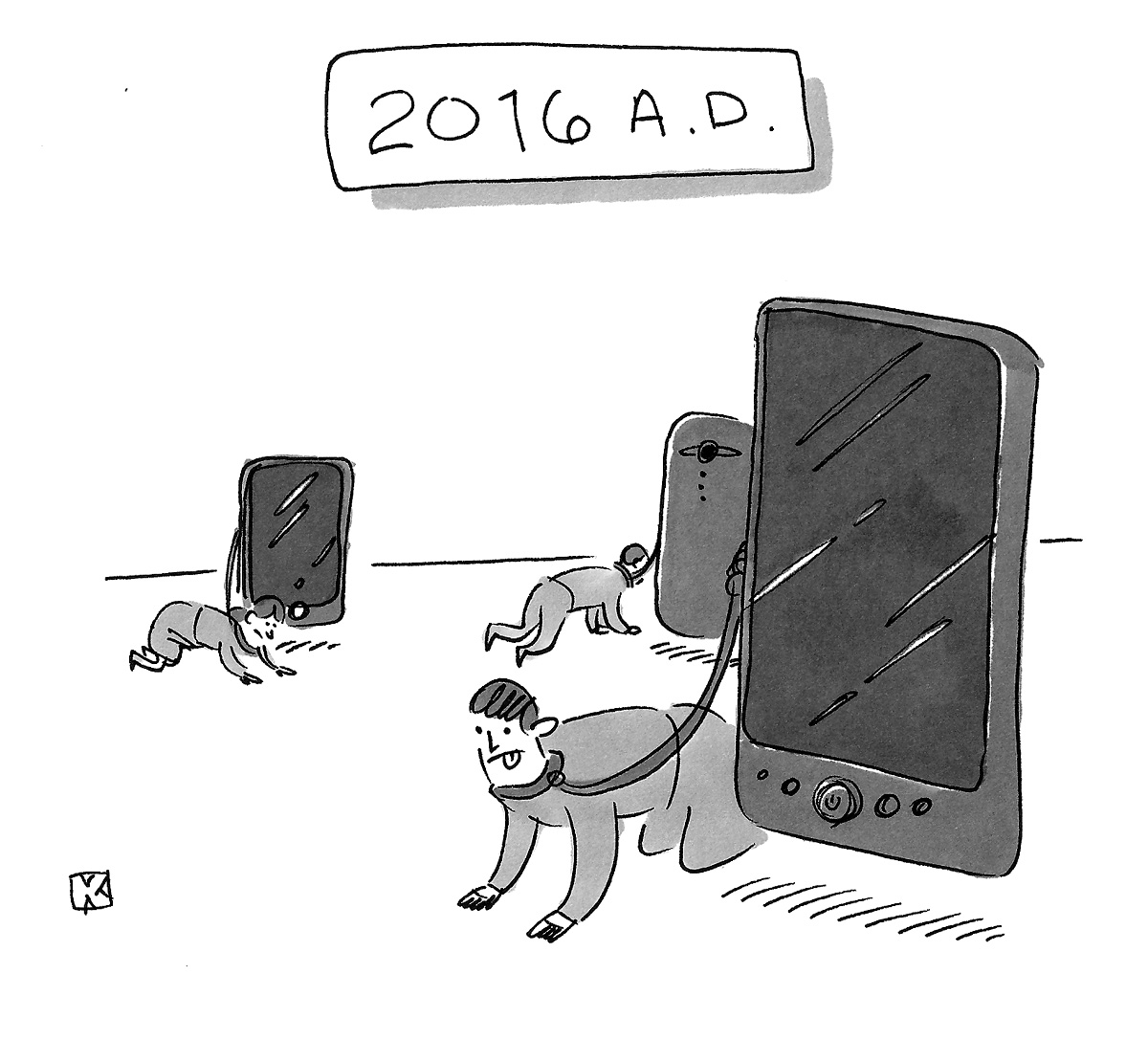 (Smartphones are walking people on leashes: '2016 A.D.')
