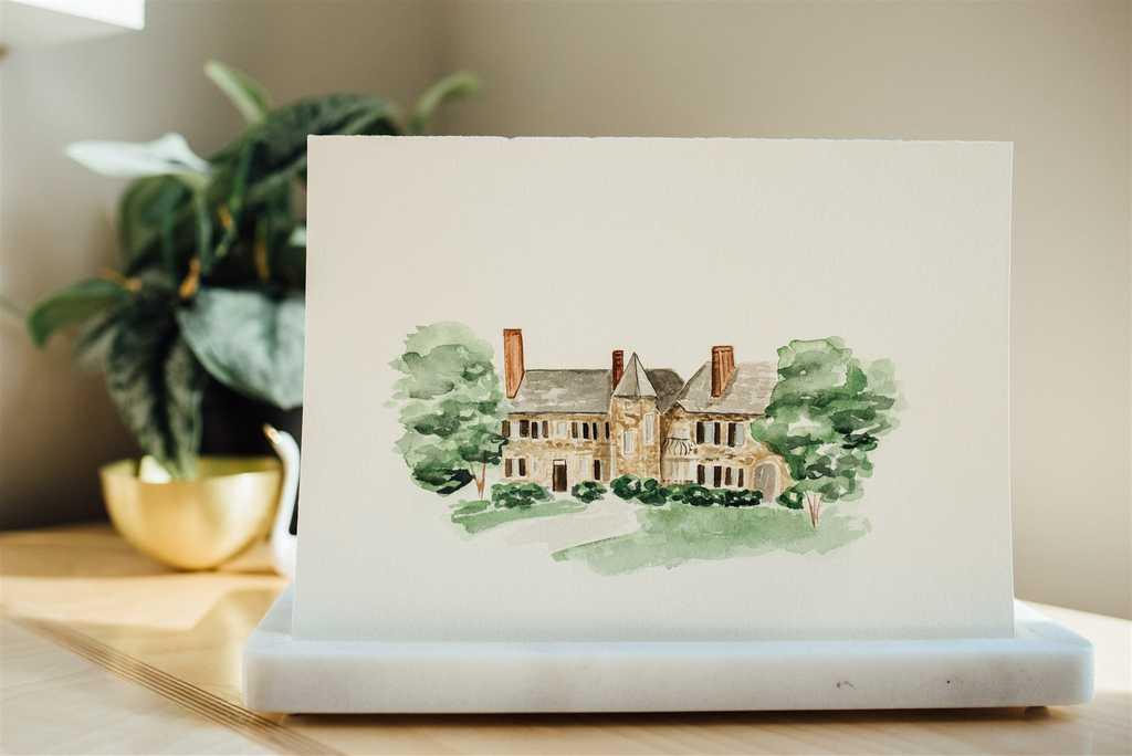 Graylyn Estate watercolor wedding venue illustration