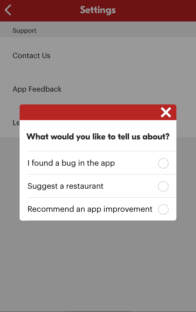 Customer survey from Seamless, a food delivery app, which asks users to filter their feedback by topic