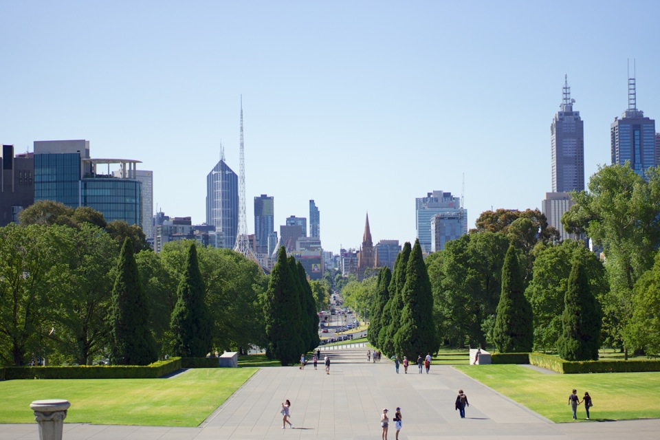 Looking toward the CBD from the Shrine of Remembrance