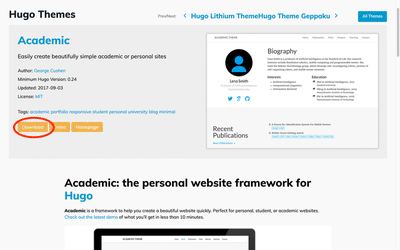 hugo-academic is as special theme for personal websites in academia.
