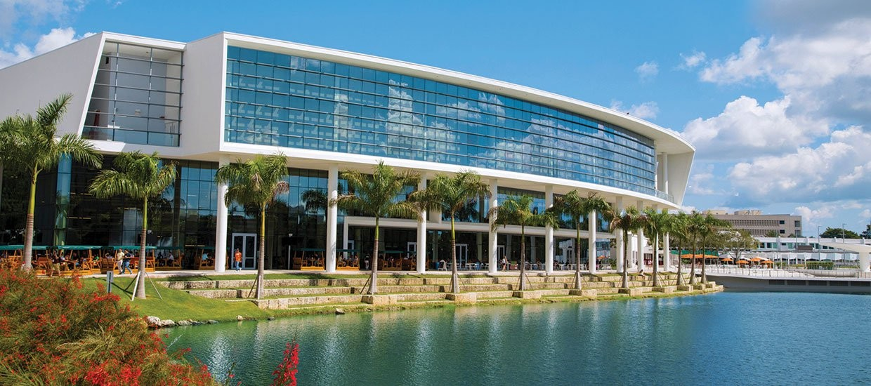 Building by the water on the University of Miami's campus