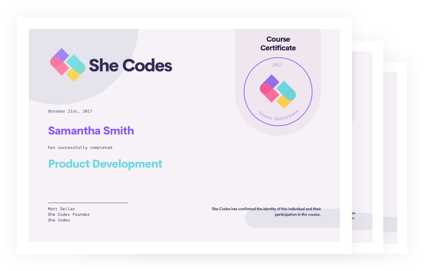 She Codes Certificate
