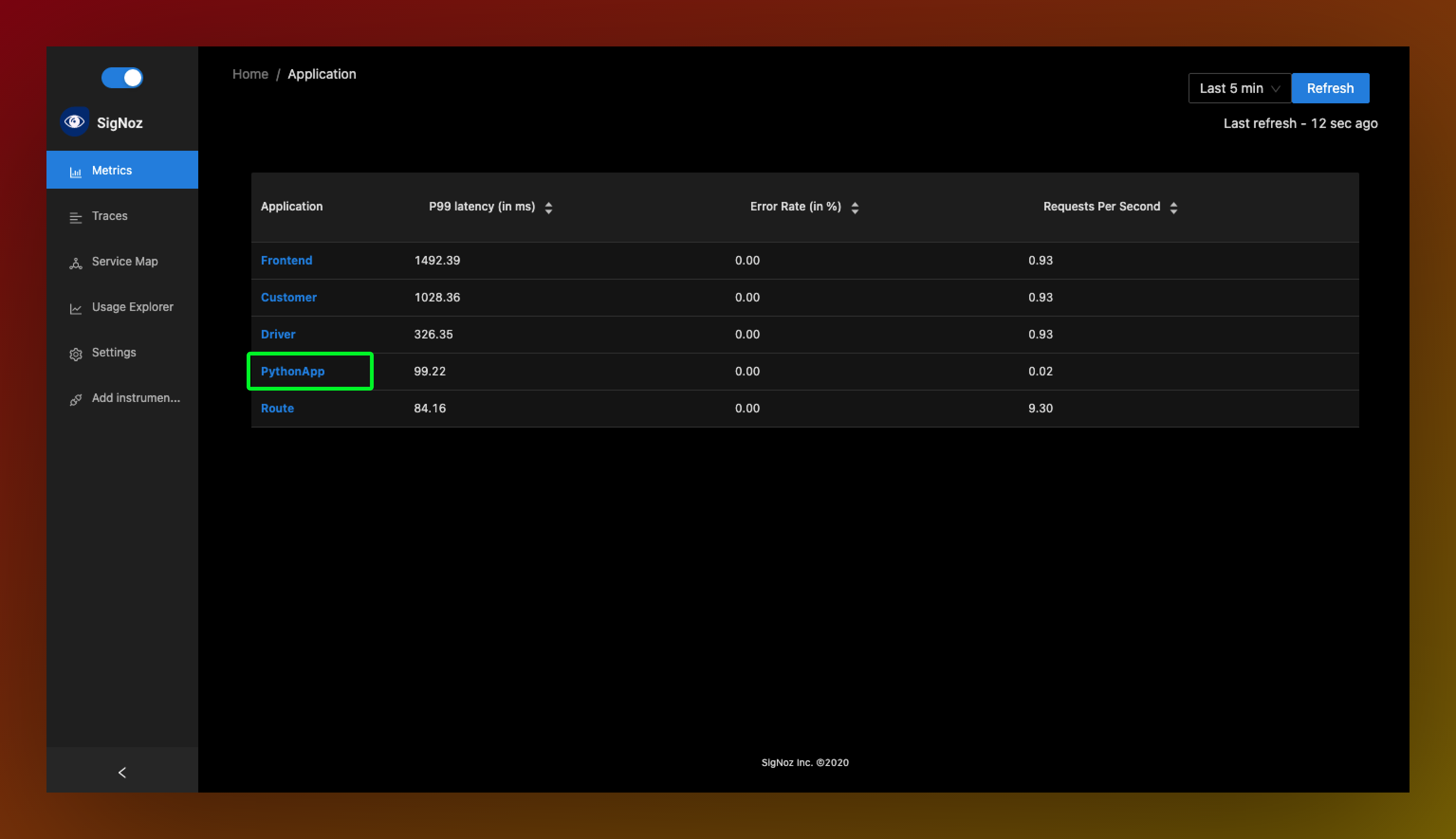 SigNoz dashboard showing python app in its list of applicayions.