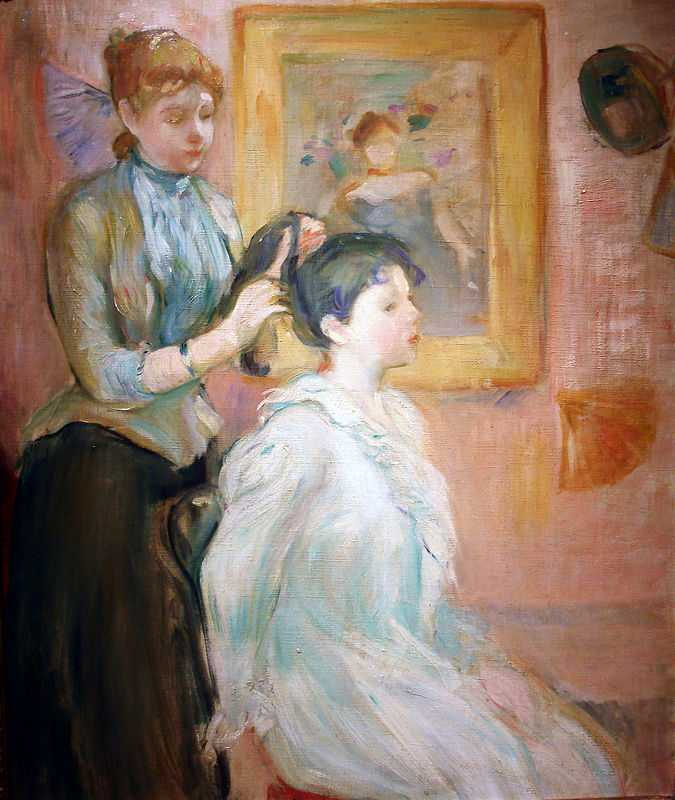 'La Coiffure' painted by Berthe Morisot in 1894