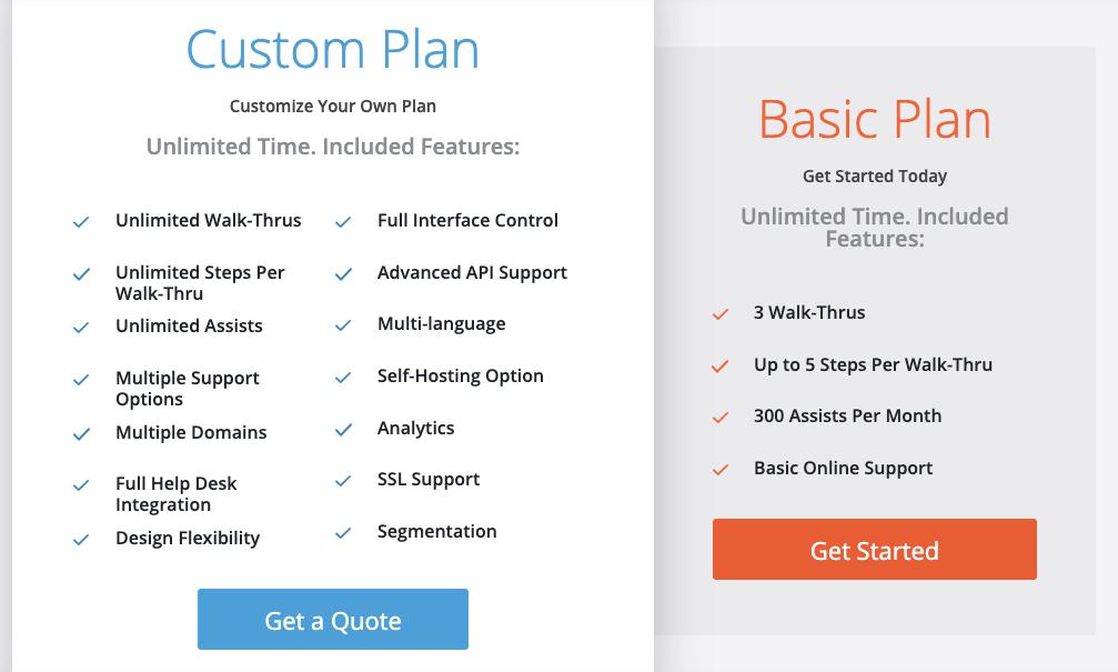 Walkme pricing screenshot
