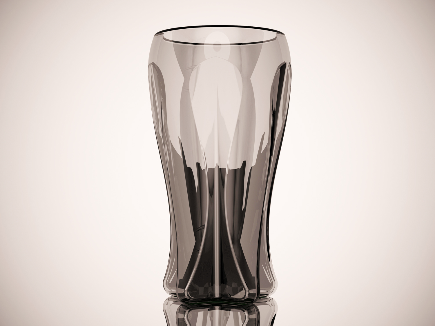 A black and white shot of one glass emphasizes the facets of its star-shaped grip-enhancing design.