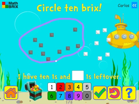 Grouping: Circle 10 ones and find the remainder Math Game