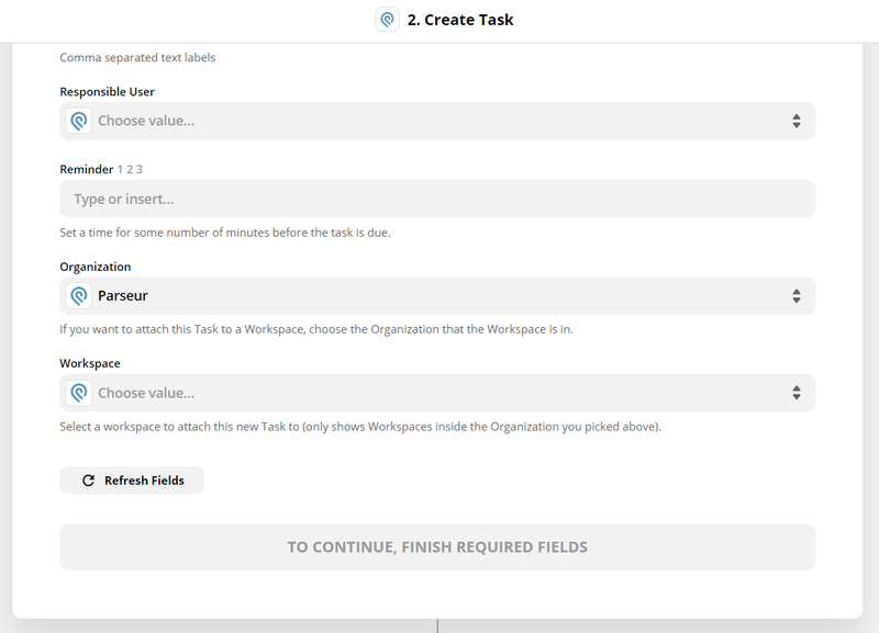 customize the task to create in Podio