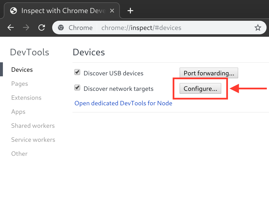 Configure button in Chrome DevTools devices page