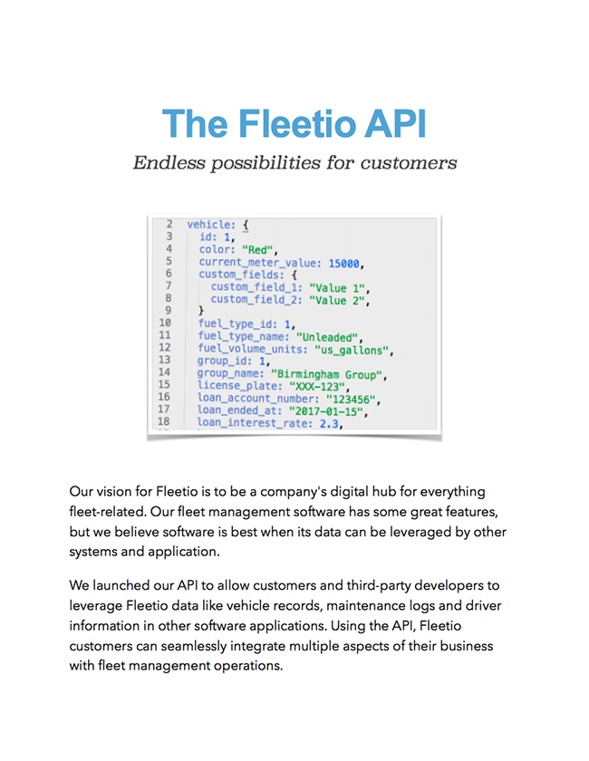 Fleetio api whitepaper
