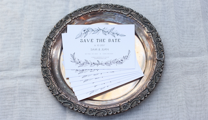 save the date card with hand drawn botanical and floral decorations item thumbnail