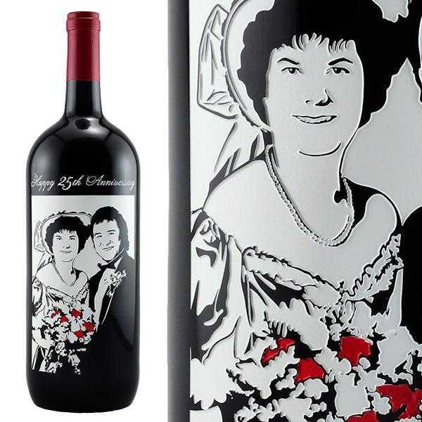 etched wine bottle magnum