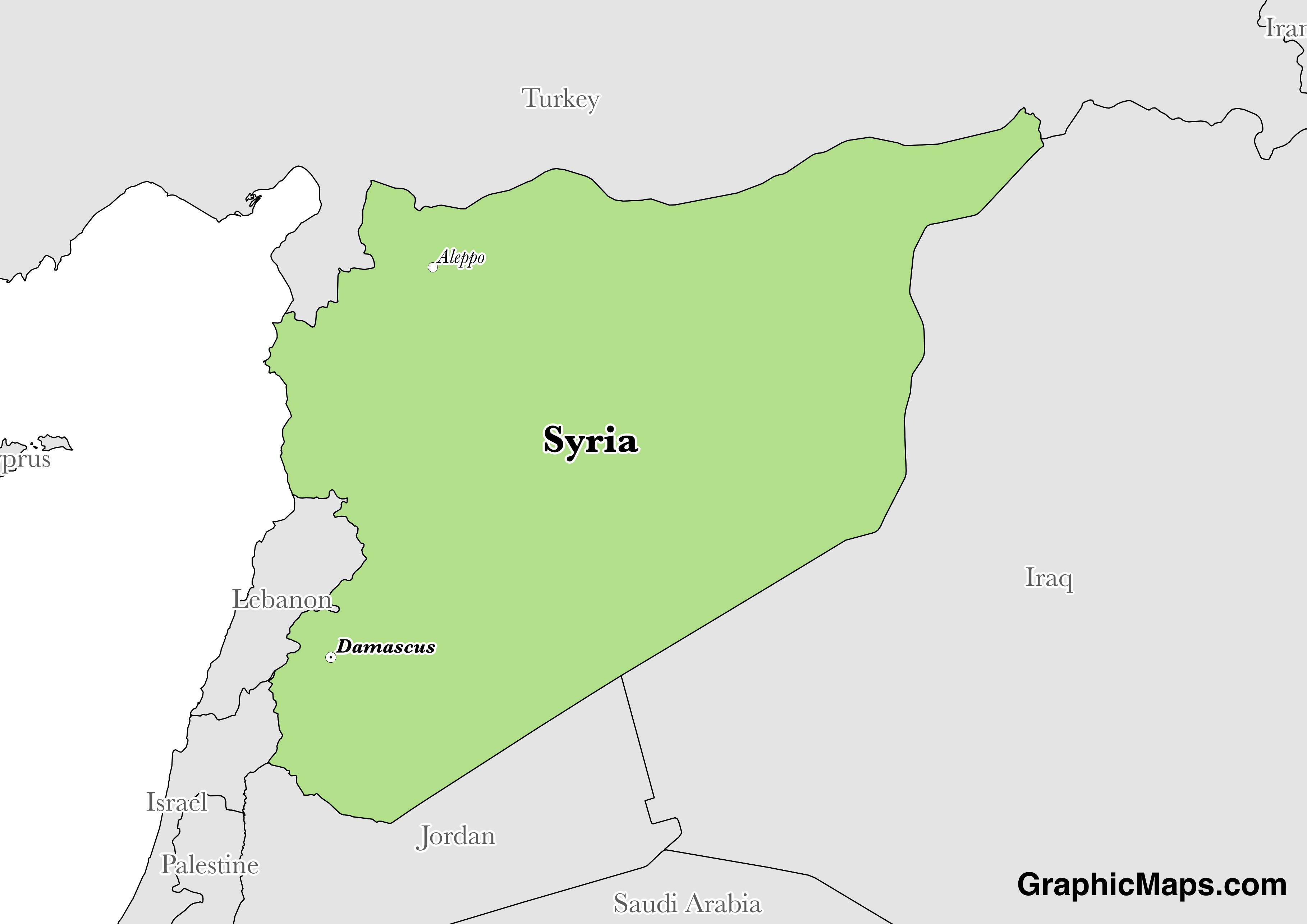 Map showing the location of Syria