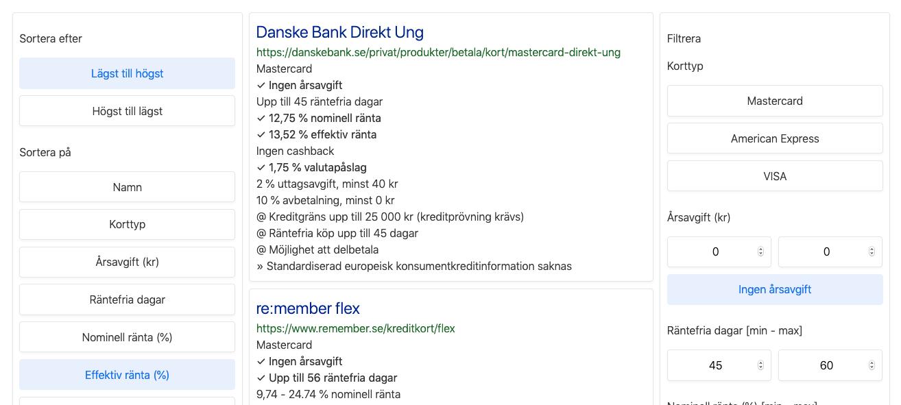 Filter och sortering för kreditkort utan avgift och lägst effektiv       ränta