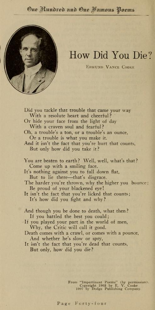 How did you die poem by Edmund Vance Cooke