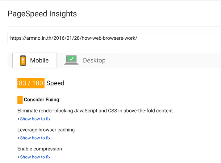 ผลจาก PageSpeed Insights ก่อน optimize