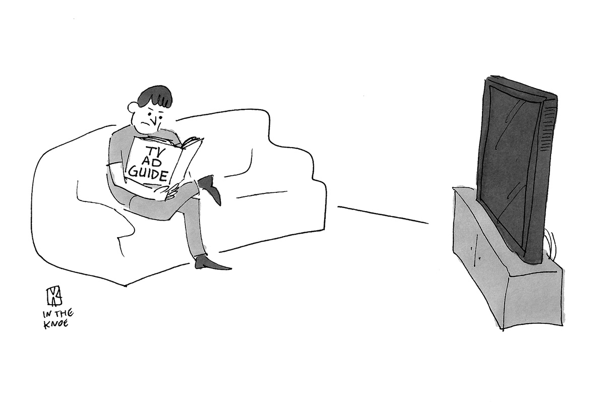 (Man in front of television is reading 'TV Ad Guide.')