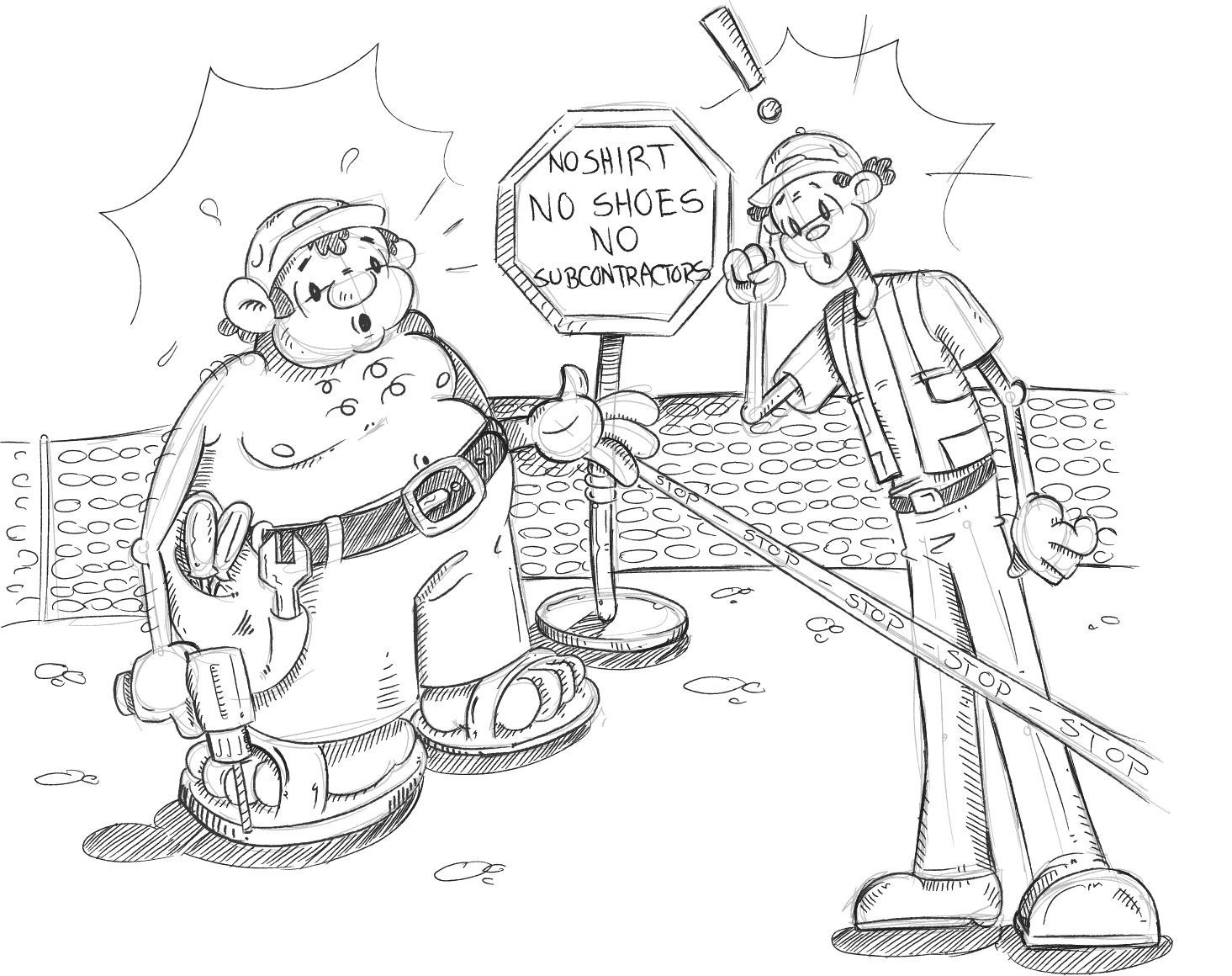 Cartoon of man being denied worksite access due to lack of PPE
