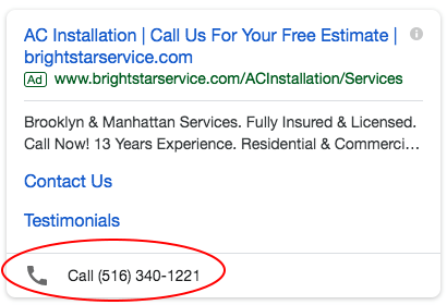 Mobile Call Extension on HVAC Google Ad