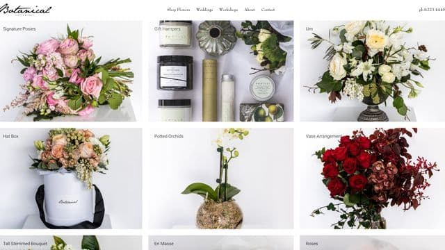 Screenshot of online store for Botanical Hobart