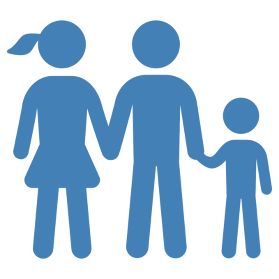 Icon of a family formed by a woman, man and child