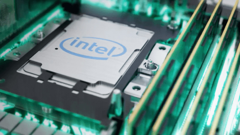 A 3D rendering of an Intel computer processor and related computer hardware